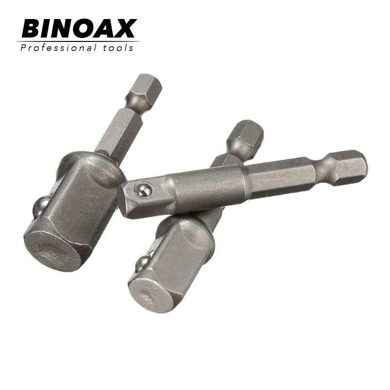 BINOAX 3pcs/lot Chrome Vanadium Steel Socket Adapter Set Hex Shank To 1/4