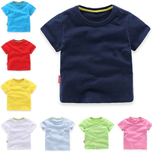2020 Candy Solid Color Toddler Girls T-shirts Short Sleeve Kids Boys T Shirt Summer Cotton Baby Girl Tops Tee Casual Wear 18M-6Y