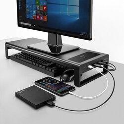 USB3.0 Ricarica Senza Fili di Alluminio Del Supporto Del Monitor Riser Supporto di Trasferimento Dati E La Ricarica, Tastiera E Mouse di Stoccaggio Scrivania