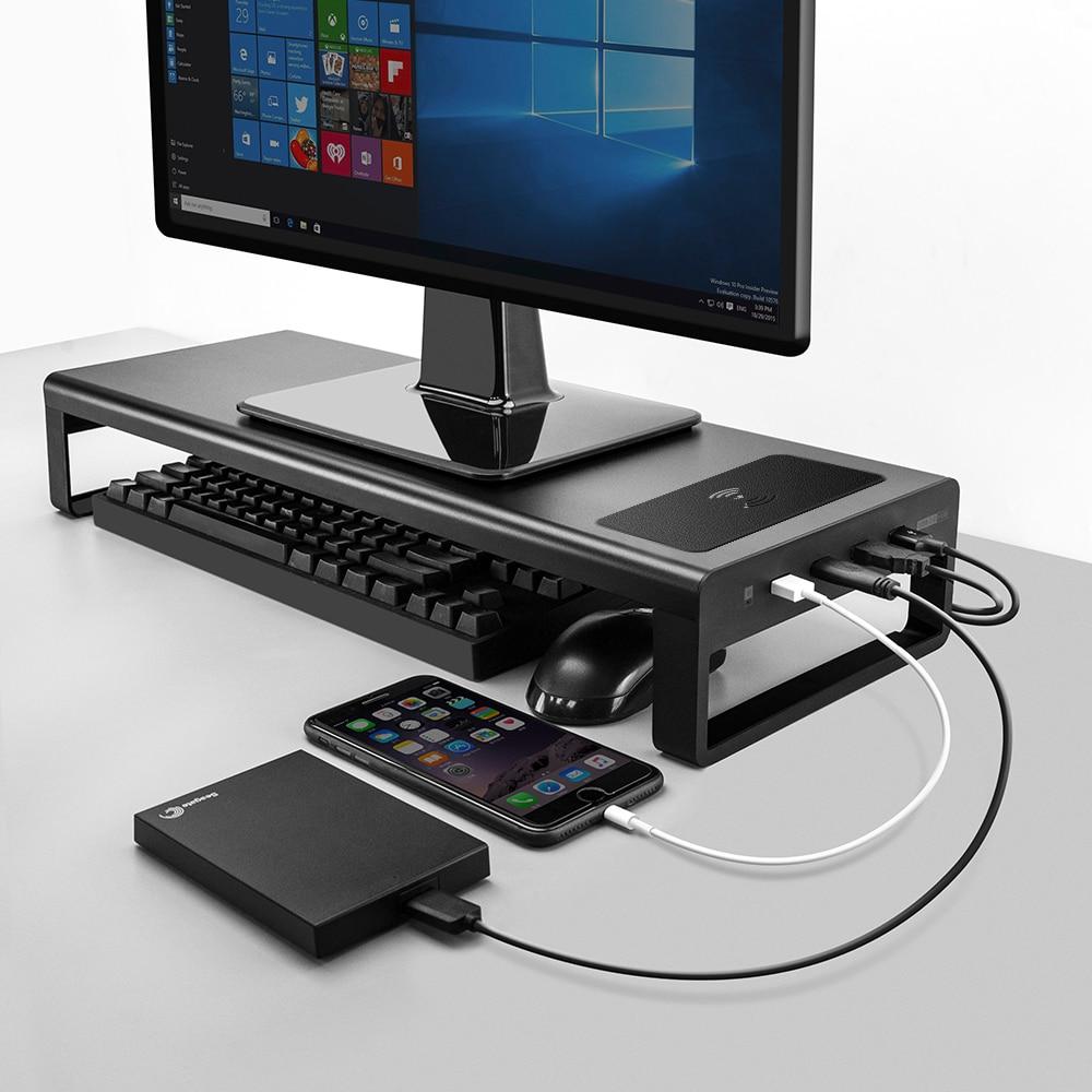 USB3.0 chargeur sans fil Support de moniteur en aluminium Riser Support transfert de données et charge, clavier et souris bureau de stockage