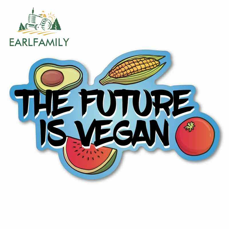 EARLFAMILY 13cm x 8cm for The Future Is Vegan Sign Car Stickers Vinyl JDM Bumper Trunk Truck Graphics Sunscreen Waterproof Anime