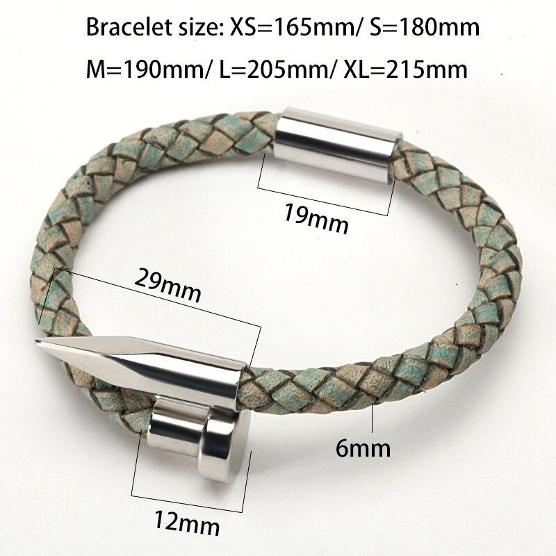 Mcllroy Bracelet hommes Vintage en cuir véritable acier inoxydable fermoir magnétique bracelets pour femme hommes bijoux 2018 erkek bileklik 2