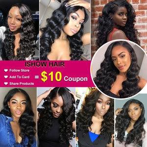 Image 5 - Ishow бразильские волосы, свободные волнистые пряди, 100% человеческие волосы, пряди, купить 3 или 4 пряди, бесплатные подарки, бразильские пряди волос