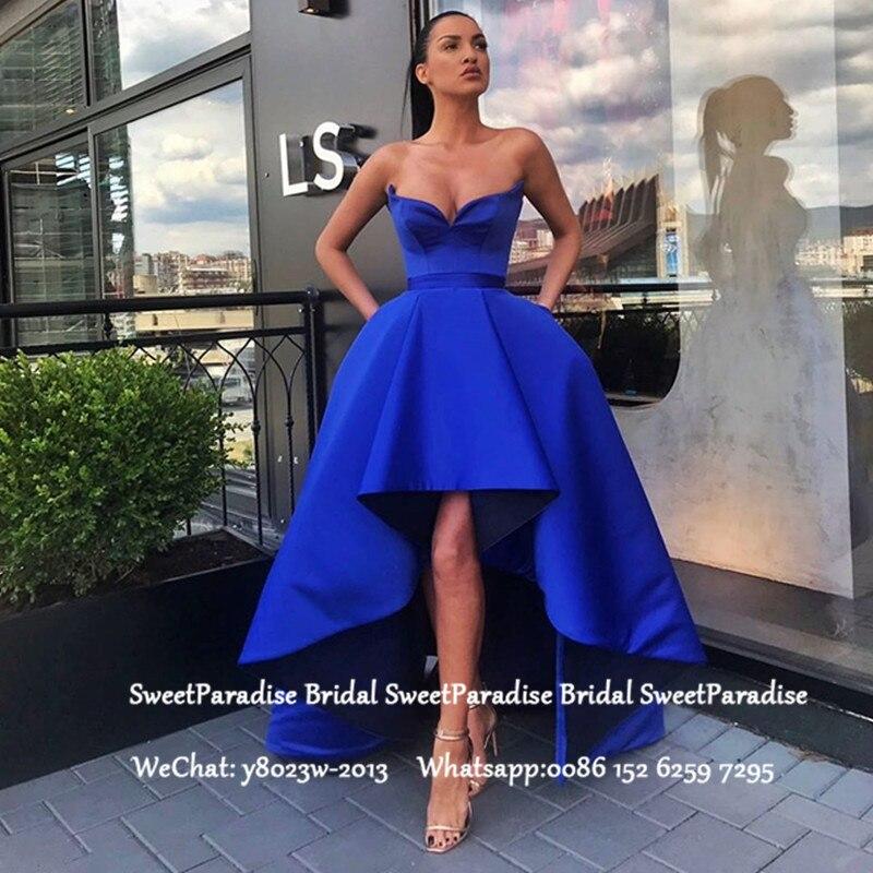 Fashion High Low   Prom     Dresses   Royal Blue Satin Puffy A Line Sweetheart Neck Hi-Lo Formal Evening   Dress   Vestidos De Gala
