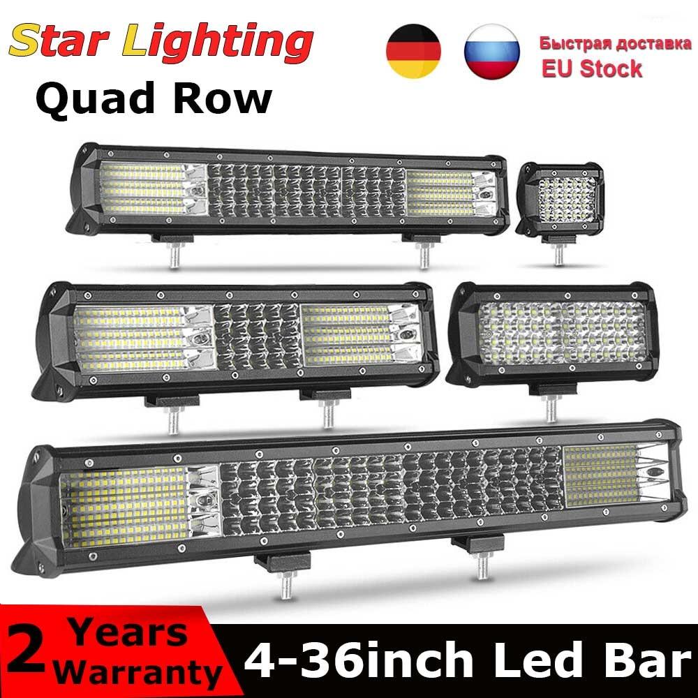 Четырехрядный 7 ''20 дюймов 23'' 28 ''36'' 12 В 24 В светодиодный светильник для внедорожника, бар, точечный прожектор, комбо 20 ''432 Вт светодиодный рабо...