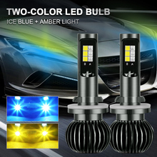 9-32V 2PCS Car Fog LED Headlight 880 9005 H1 H7 H11 Bulb Light 8000K Ice Blue/3000K Amber Two-Color Waterproof Car Accessories