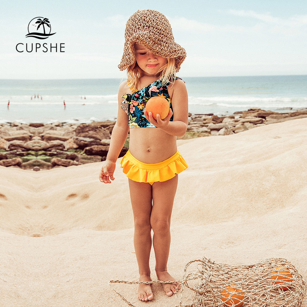 CUPSHE Floral Ruffles Bikini Sets With Skirted Bottom For Girls 2020 Toddler Kids Children Swimsuits Bathing Suits 2-12 Years