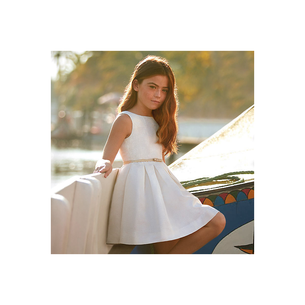 MAYORAL Dresses 10678771 Girl Children Party fitted pleated skirt Beige Polyester Preppy Style Solid Knee-Length Sleeveless Sleeve