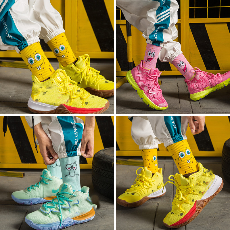 Sponge Socks Bob Women Short Socks Crew Long Basketball Socks Cartoon Character Squarepants Patrick Star Socks Cotton Unisex Men