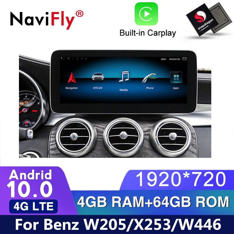 Автомобильный dvd-плеер IPS Android 10 с GPS навигацией для benz C-Class W205/GLC-Class X253/V-Class W446 2015 2016 2017 2018 NTG 5,0