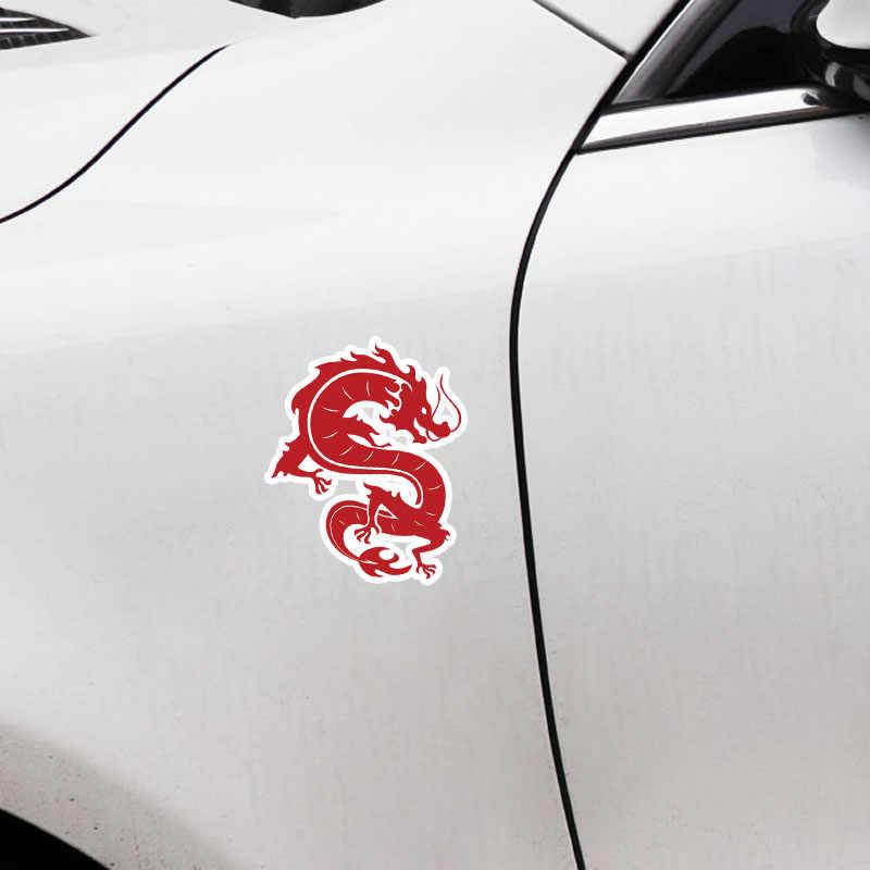 Aliauto สีแดงลมจีนการ์ตูน Dragon PVC รถสติกเกอร์ตกแต่งรูปลอกสำหรับ Nissan รถจักรยานยนต์ KIA Suzuki Peugeot, 13 ซม.* 11 ซม.