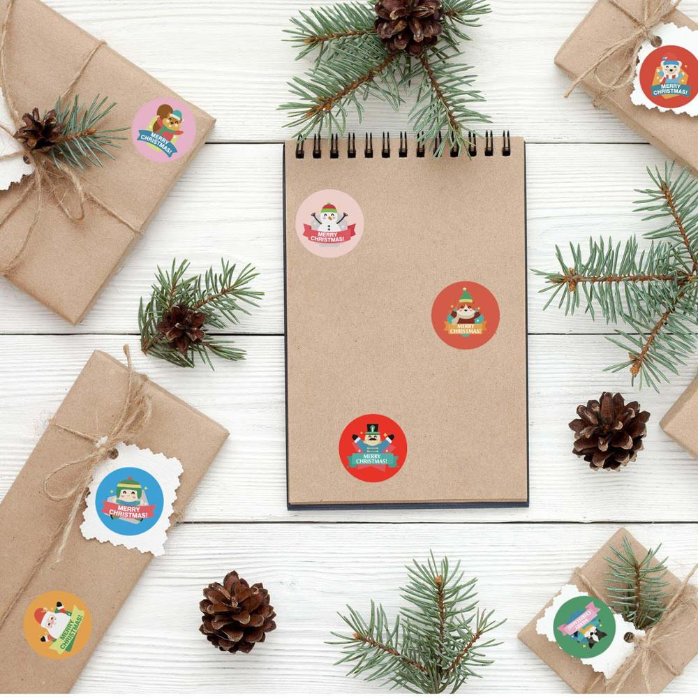 500pcs/roll Cute Cartoon Stickers Christmas Gift Decoration Packaging Stationery Merry Christmas Seal Label Sticker-5