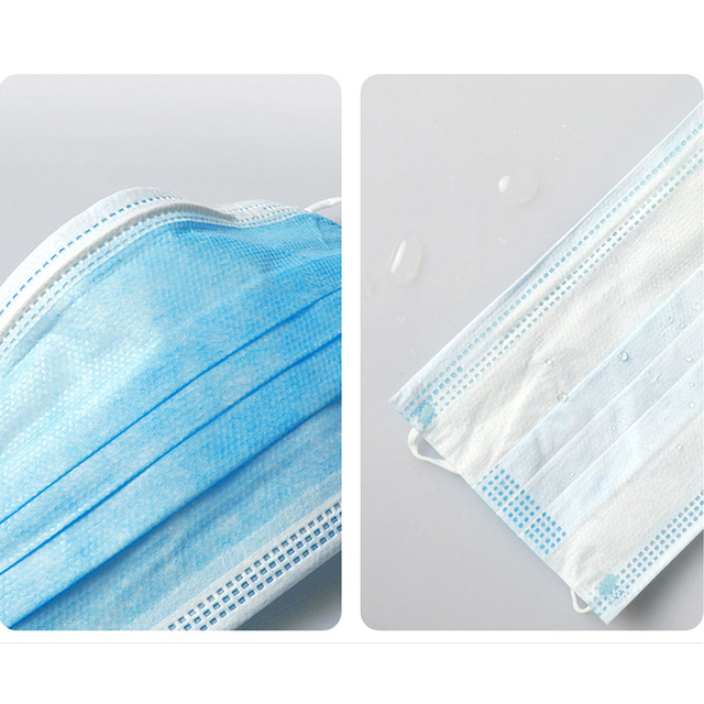 50Pcs/100pcs Mask Disposable Nonwove 3 Layer Ply Filter Mask mouth Face mask filter safe Breathable Protective masks 5