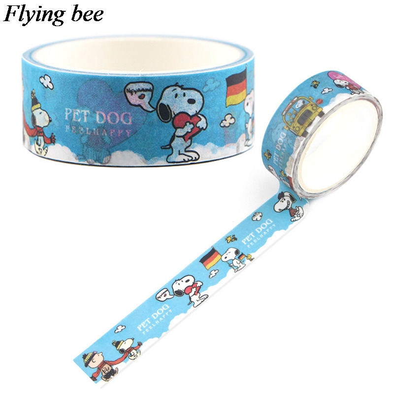Flyingbee 15mmX5m Funny Dog Washi Tape Paper DIY Decorative Adhesive Tape Stationery Kawaii Masking Tapes Supplies X0586
