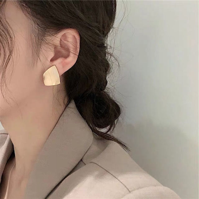 AOMU Trendy Korea Simple Gold Metal Matte Texture Geometric irregular Twisted Square Small Earrings for Women.jpg 640x640 - Simple Gold Metal Matte Texture Geometric Square Small Earrings