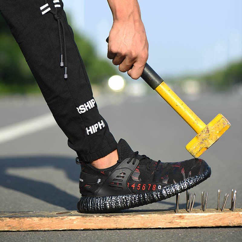 ใหม่แฟชั่นความปลอดภัยรองเท้าเหล็กคอมโพสิต Toe รองเท้า Camouflage Breathable น้ำหนักเบาทำลายหลักฐานเจาะรองเท้าทำงาน