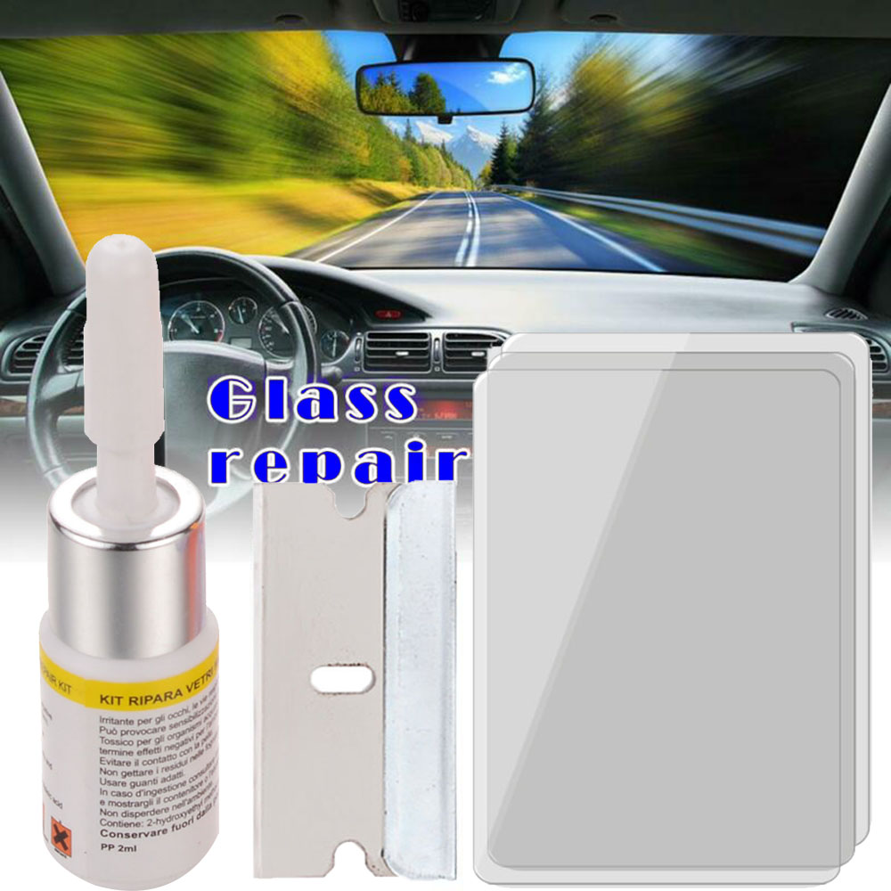 Car Windshield Windscreen Window Glass Repair Resin Full Kit Auto Glass Tools Kit By Traffic Accident Impact Collision Blow