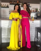 019 New Summer Bandage Two Pieces Sets Sexy Spaghetti Strap One Shoulder Top& Long Pants Women Fashion Club Party Sets