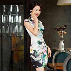 Image 2 - Новое шелковое платье Ципао с короткими рукавами для весны и лета 2019