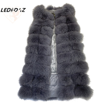 Unique Design X-Long 2019 New Real Fox Fur Vest Full Belt Female Long Slim Coat With Pockets Zipper Front 90CM /110CM