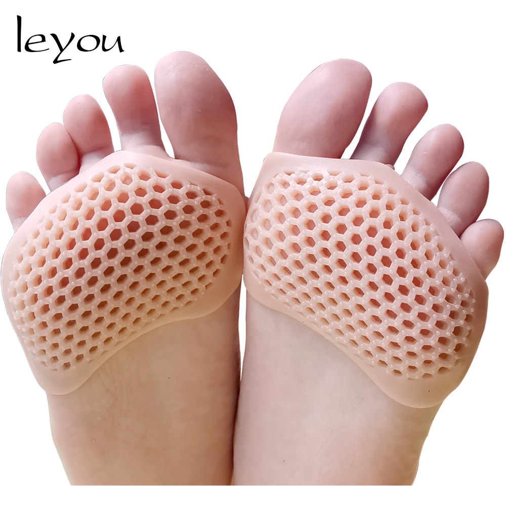 Leyou Silicone Padded Forefoot Insoles High Heel Shoes Pad Gel Insoles Breathable Health Care For Feet Forefoot Cushion