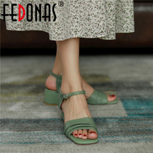 FEDONAS Top 2020 Summer Sweet Buttoned Sandals Summer Newest Fashion Thick Heels