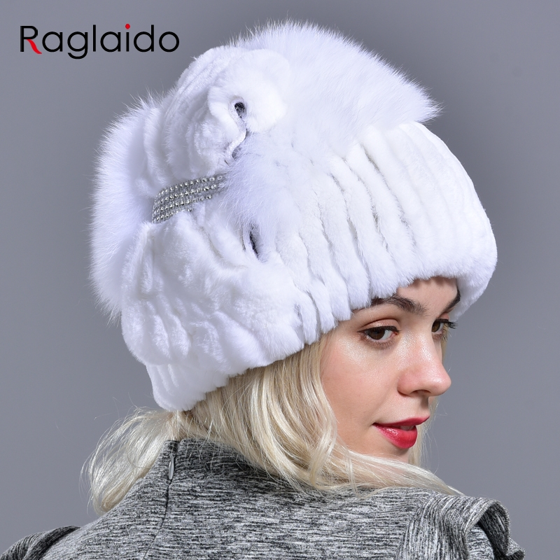 Natural Rabbit Fur Hat Winter Warm Hats For Women Thick Diamond Fashionable Stylish Girls Outdoor Hat Accessory White Snow Caps