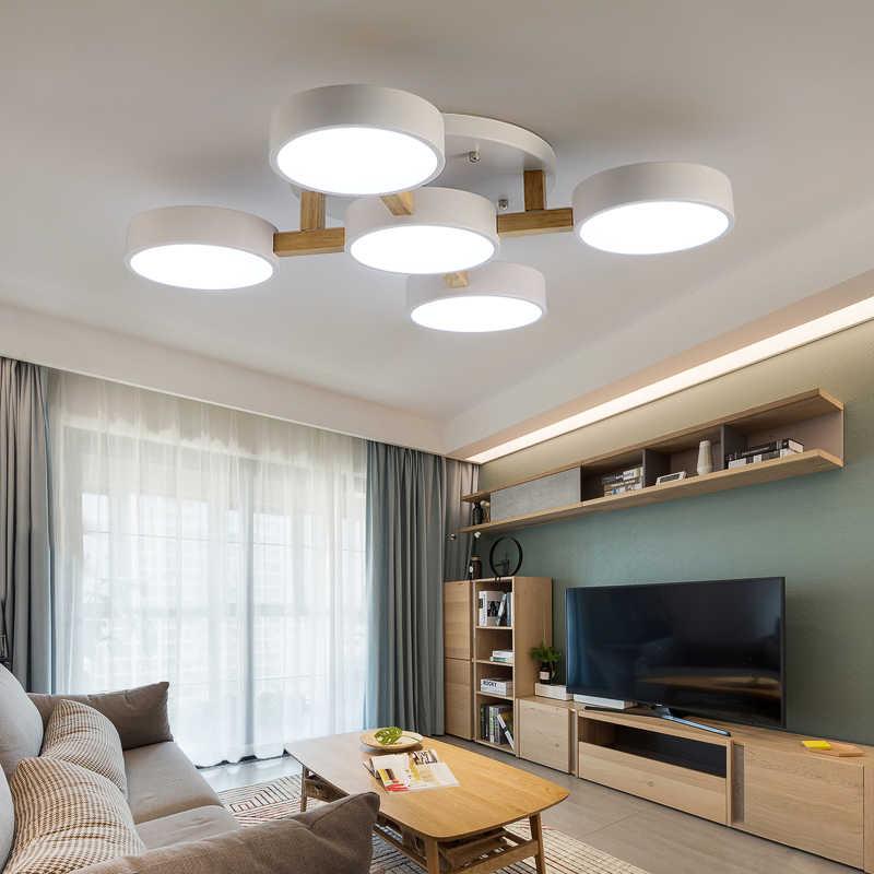 Trazos lâmpadas de teto em madeira nórdica, para sala de estar, para decoração, 220v, redonda, metal, led, iluminação superfície
