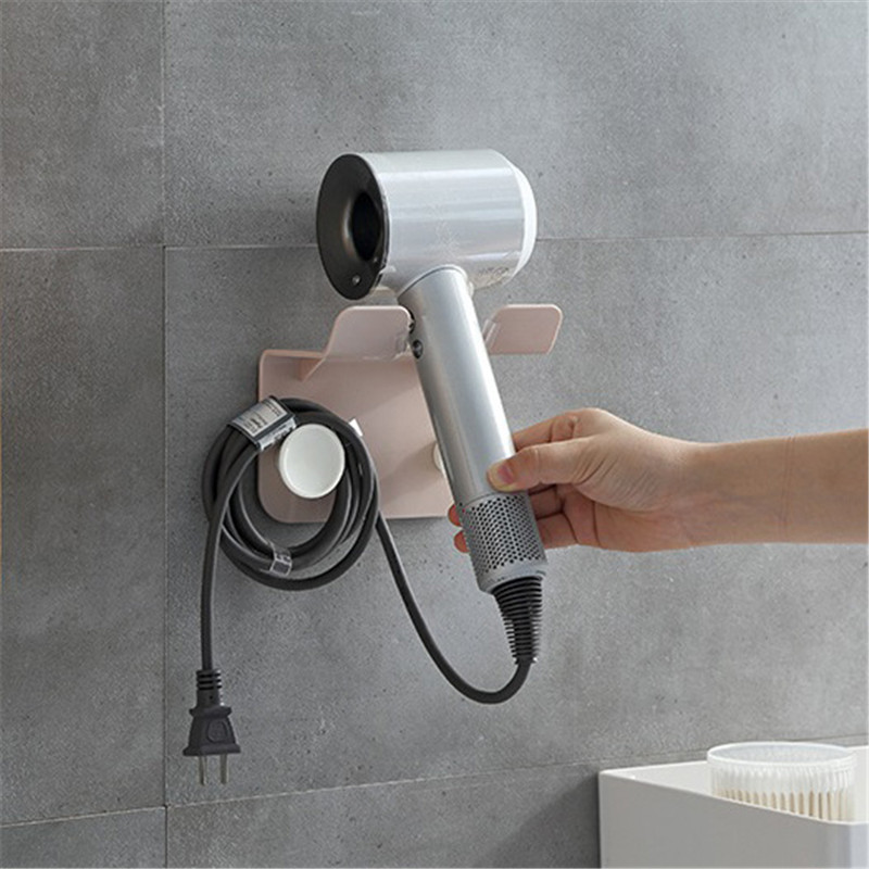 Hair Dryer Rack Plastic Wall Mount Drying Machine Holder Bracket Bathroom Storage Household Items Bathroom Gadgets