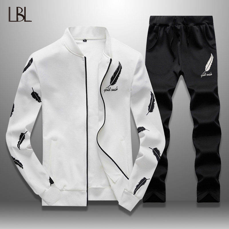 Slim Mens Sweat Suits Sets Tracksuit  Male Casual Sweatshirts Men Sweatsuits Fitness Jacket Sporting Suits Coat + Sweatpants Set