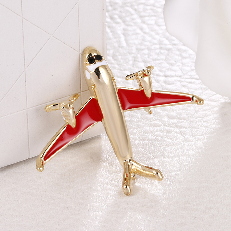 New Small Airplane Enamel Brooch Metal Aircraft Lapel Pin Suit Shirt Badge Corsage Brooches for Women Clothing Accessories image
