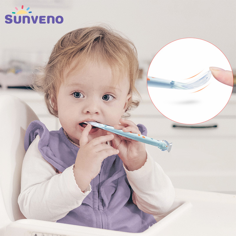 Sunveno First Stage Baby Spoon BPA-free Soft Silicone Feeding Spoon Safety Tableware Infant Learning Spoons For Baby 4M-4T
