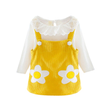 New Baby Girl Clothes 0-3T Autumn Girls Flower Print Long-sleeved Sets White Top + Corduroy Sling Dress 2 Pieces