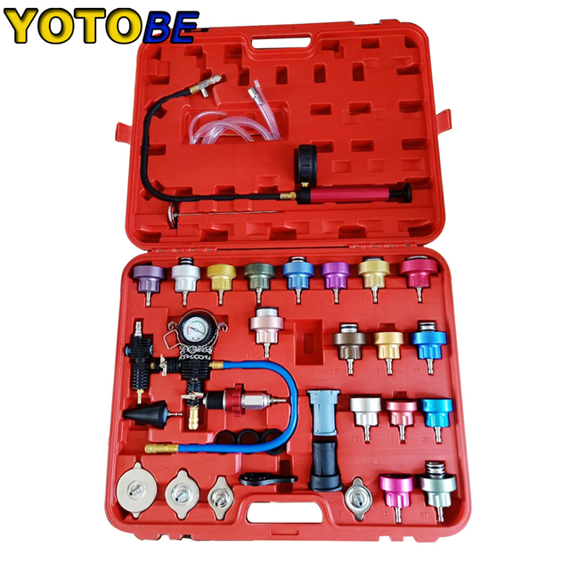 34pcs Radiator Pressure Compression Tester Car Repair Water Tank Accurate Easy To Use Cooling System Leak Detector