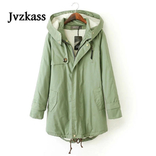 Jvzkass cotton womens large size version long section of the cashmere casual winter wear plus velvet thick jacket Z325