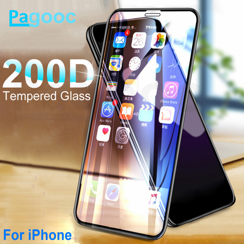 200D Curved Protective Tempered Glass For iPhone X XS 11 Pro Xs Max XR Glass Screen Protector on iPhone 7 8 6 6S Plus Glass Film(China)