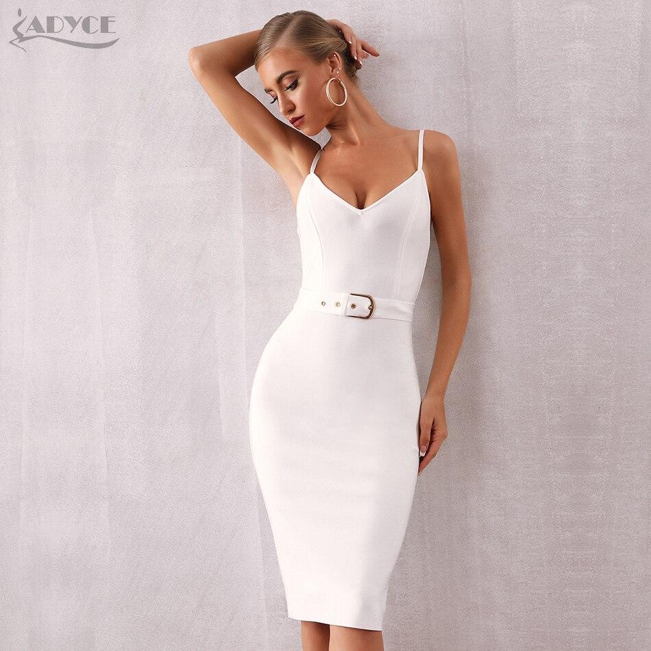 ADYCE 2019 New Summer White Bandage Dress Women Sexy Red Black Spaghetti Strap Sash V Neck Midi Bodycon Party Club Dress Vestido