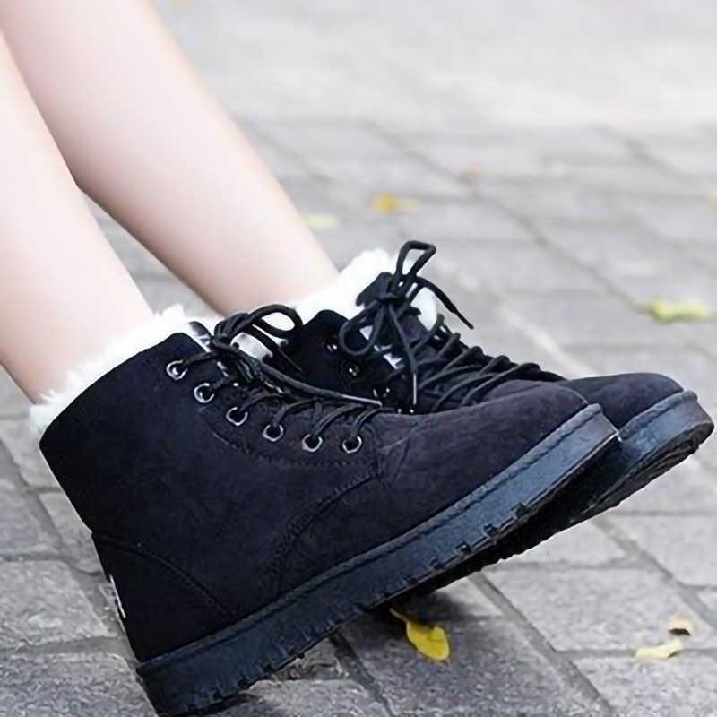 Botines de mujer de ante de invierno de 2019 botas de nieve botas de piel de felpa con cordones zapatos de mujer de plataforma plana Casual