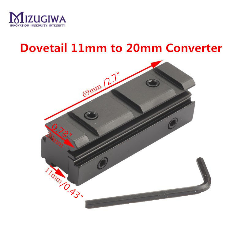 Tactical Scope Mount 11mm Dovetail 20mm Weaver Rail Converter Adapter With Allen Key Airgun Rifle Pistol Sight Hunting Caze