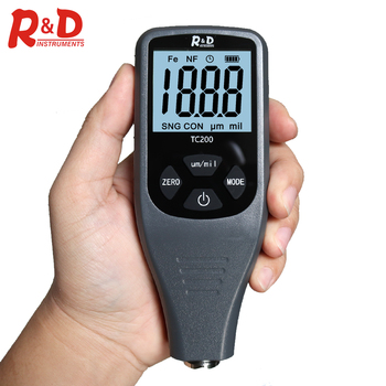 R&D TC200 Grey Car Paint Coating Thickness Gauge 0.1um/0-1500 Car Paint Film Thickness Tester Measuring FE/NFE & Russian Manual