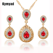 Kymyad Crystal Jewelry Sets For Women Indian Jewelry Gold Color Water Drop Pendant Necklace Earrings