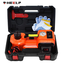 E-HEELP 12V 5Ton Car Electric Hydraulic Floor Jack, Tire Inflator Pump and LED Flashlight 3 in 1 Set With Safe Hammer
