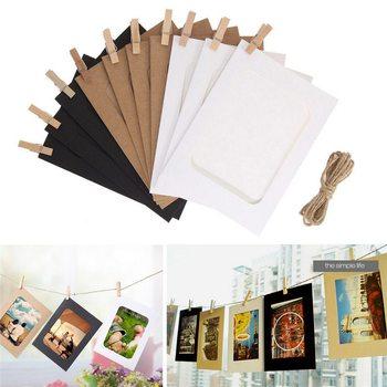 Dekoracje ślubne ściany wiszące artykuły do rękodzieła rzemieślnicze zdjecie obraz w ramie karty tanie i dobre opinie CN (pochodzenie) Papier Nowoczesne Rectangle 10 pudełka Ramka na zdjęcia