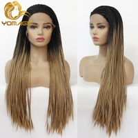Yomagic Hair Long Two Tone Color Synthetic Lace Front Braids Wigs For Women Ombre Brown High Temperature Fiber Hair Braided Wigs
