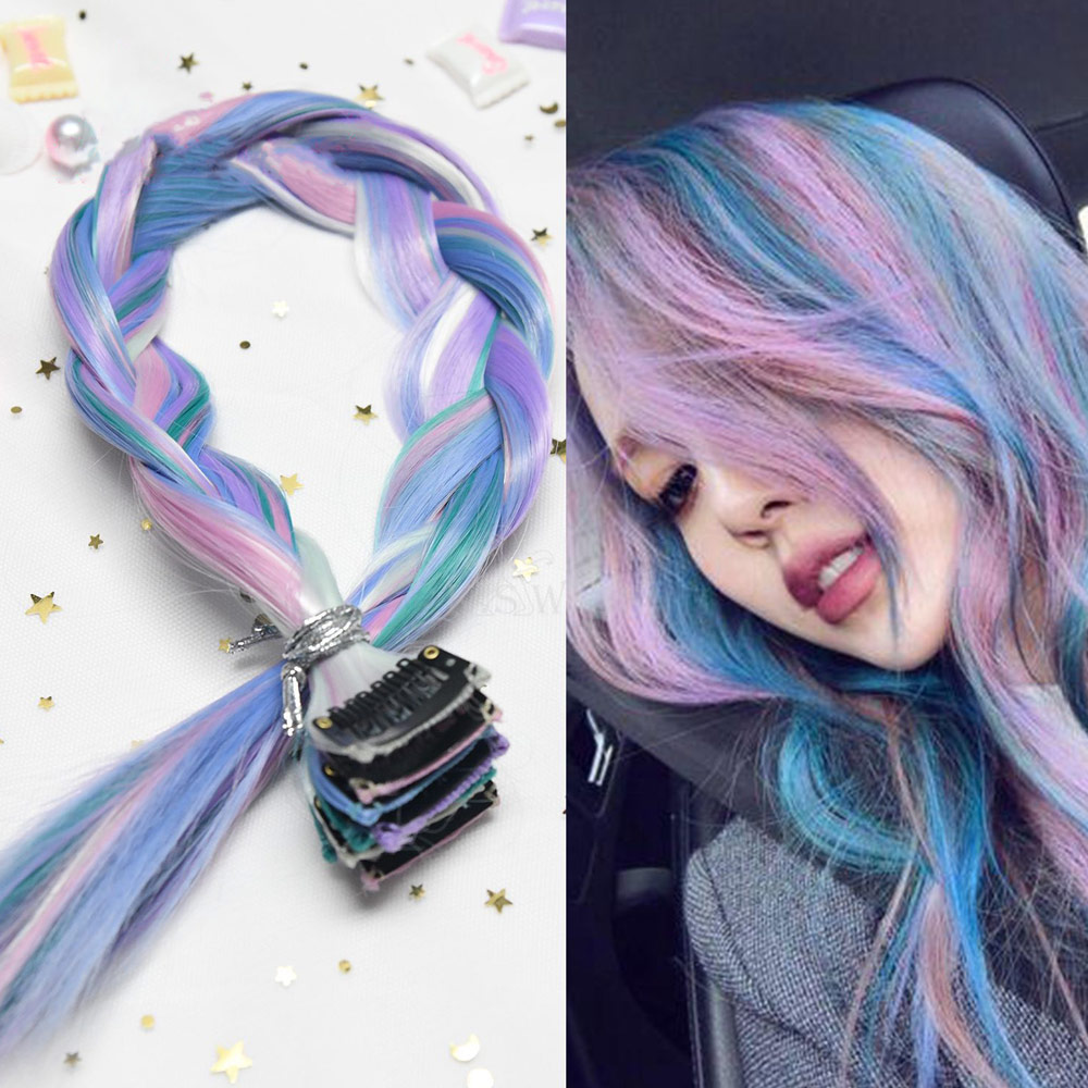 AIYEE 100 Colors RainBow Hairpiece Clip In Hair Piece Hair Extensions Synthetic Long Straight Ombre Pink Red Rainbow Hair Piece