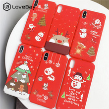 Lovebay Merry Christmas Phone Case For iphone X Hard PC Fashion Xmas Red Cases Cover 6 6S 7 8 Plus XS Max XR