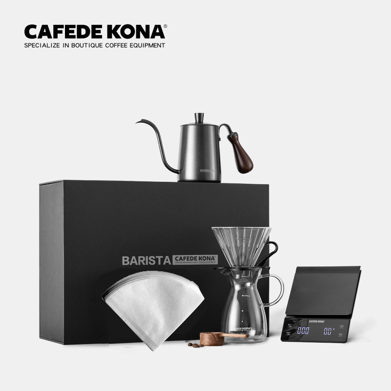 CAFEDE KONA hand drip coffee sets 6 PCS in pourover coffee gift box (scale+Kettle+dripper+filterpaper+server+Measuring spoon)set title=