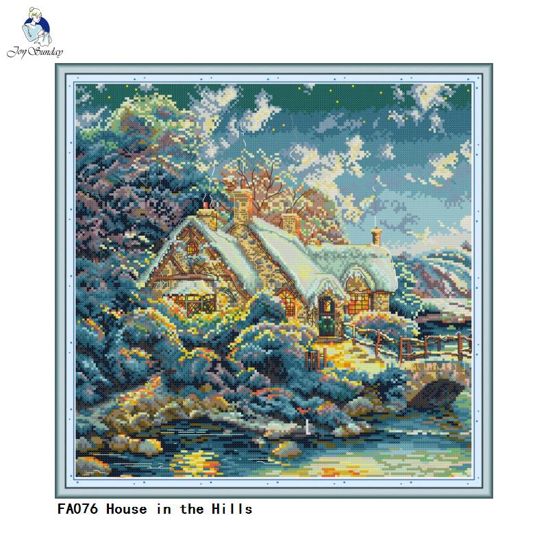 House in the Hills Cross Stitch kits 14ct Counted Printed Canvas 11ct Fabric Embroidery DIY Handmade