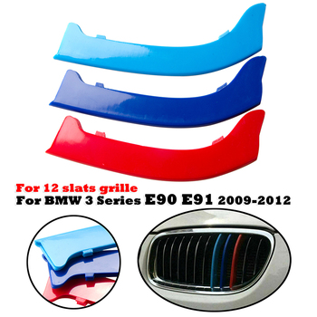 12 Slats Kidney Front Grill Grille Decal Stripe Cover Clip Trim For BMW 3 Series E90 E91 2009-2012 M-Sport Decorative Parts image