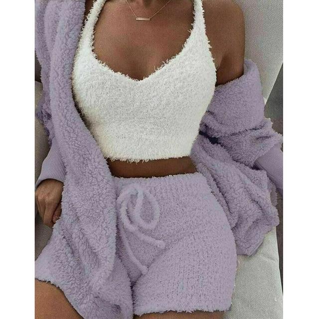 New Fashion Fluffy Hooded Long Sleeves Coat Open Front Teddy Shorts Vest Set for Women Winter J9 4